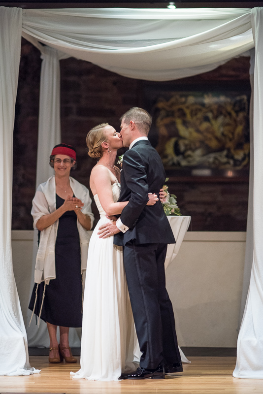 Denver Opera House Wedding Photographer first kiss