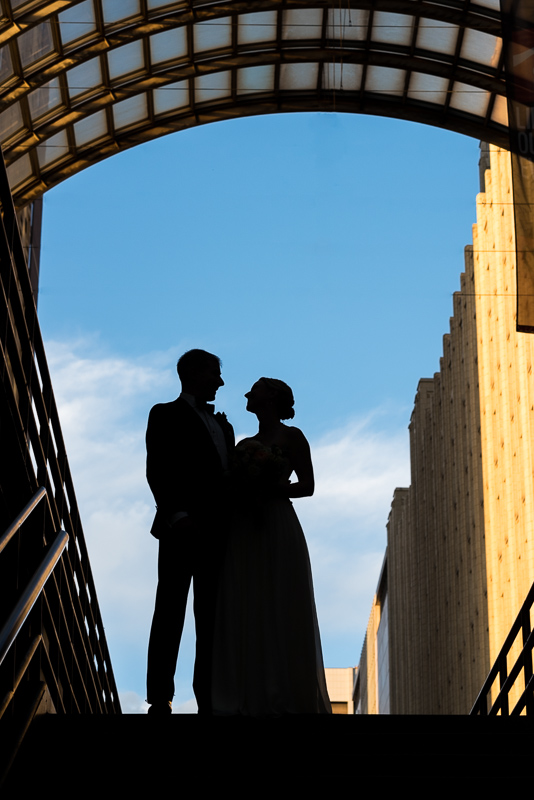 Denver Opera House Wedding Photographer bride and groom silhouette