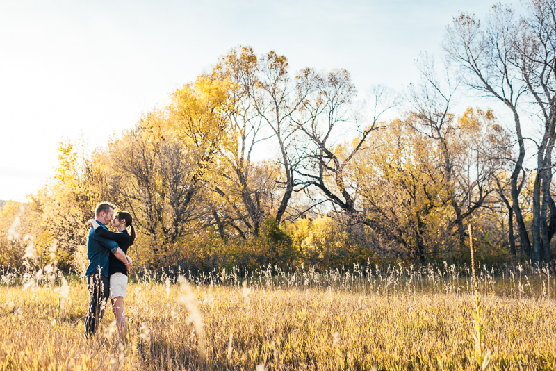 Denver Engagement Photography Chatfield Botanic Gardens sunny field