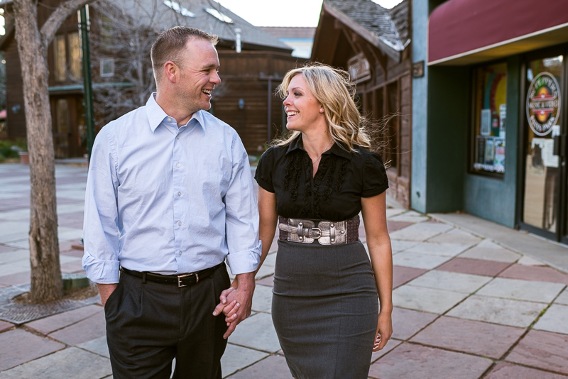 Denver Engagement Photographer walking and smiling