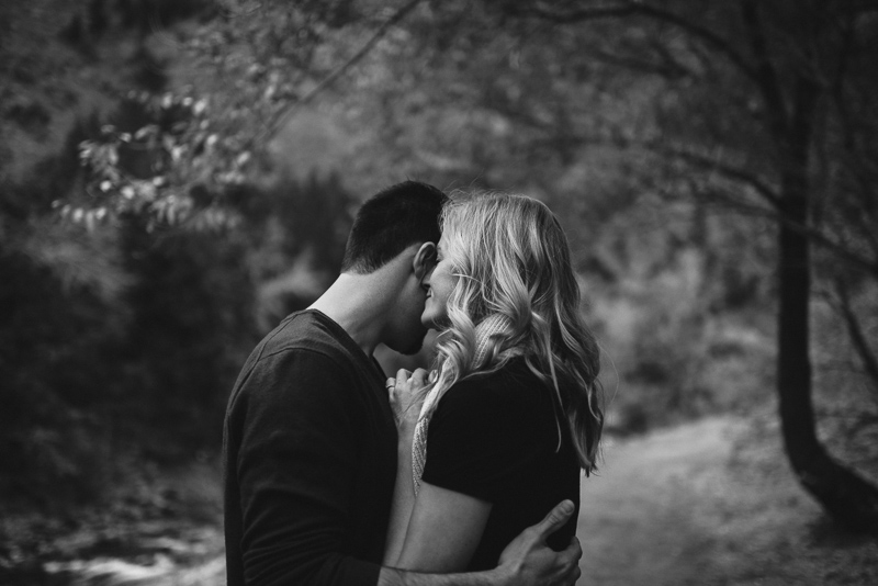Golden Engagement Photography dramatic black and white
