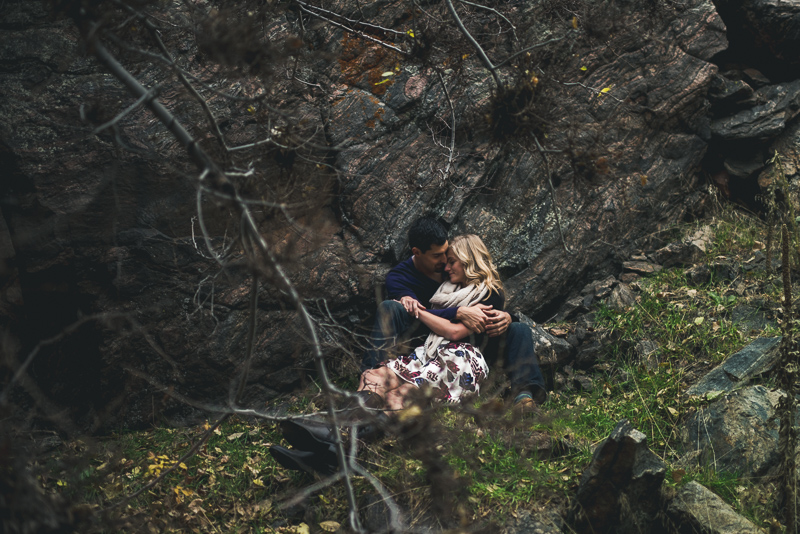Golden Engagement Photography hidden snuggles