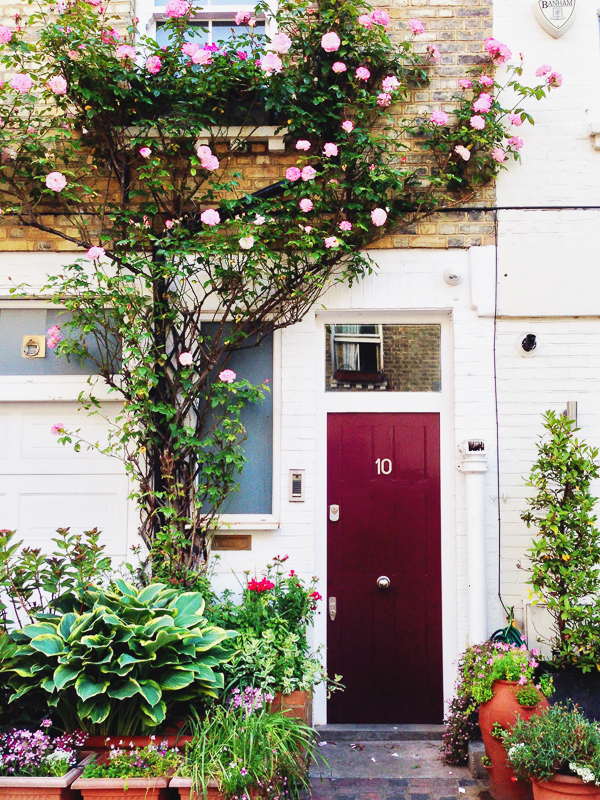 london doorway with roses