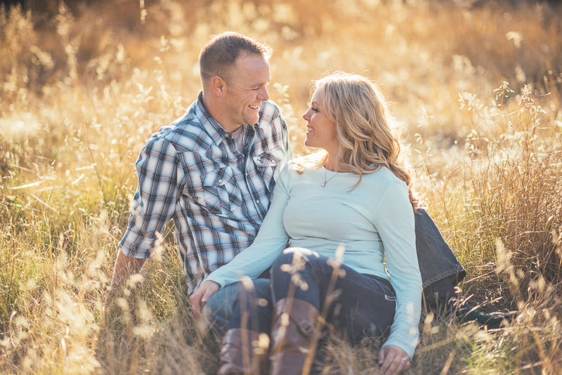Denver engagement photography grassy field