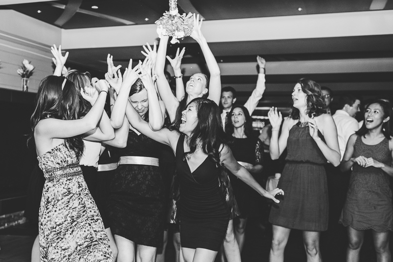 Denver wedding photography crazy bouquet toss