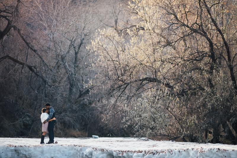 Denver Wedding Photography dramatic frozen river
