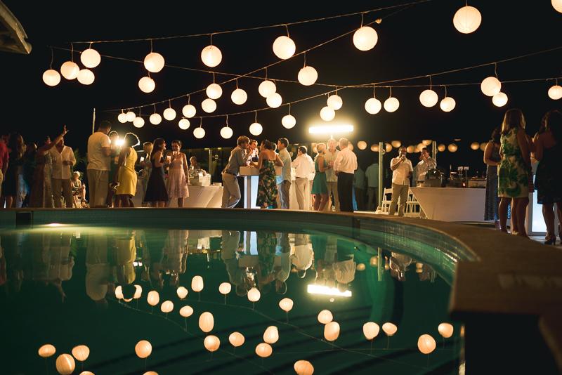 Cancun Wedding photography lanterns in pool