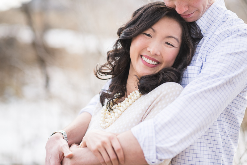 Denver engagement photography forehead kiss