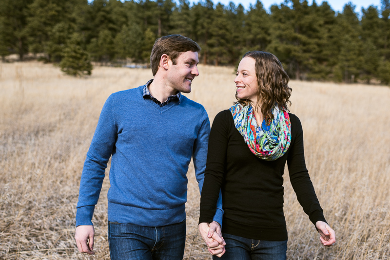 Evergreen Engagement Photography walking couple