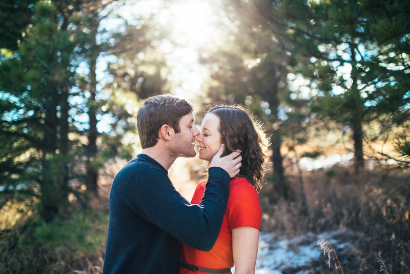 Evergreen Engagement Photography sunlight trees