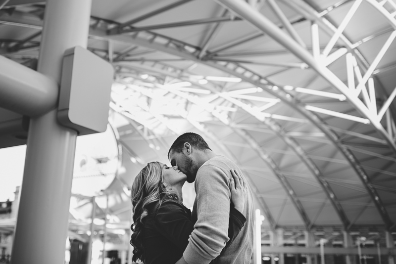 Denver Engagement Photography black and white union station