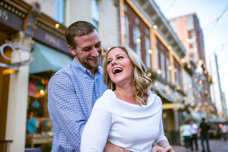 Denver Engagement Photography laughing larimer square