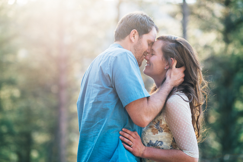 Boulder Engagement Photography sun drenched kiss
