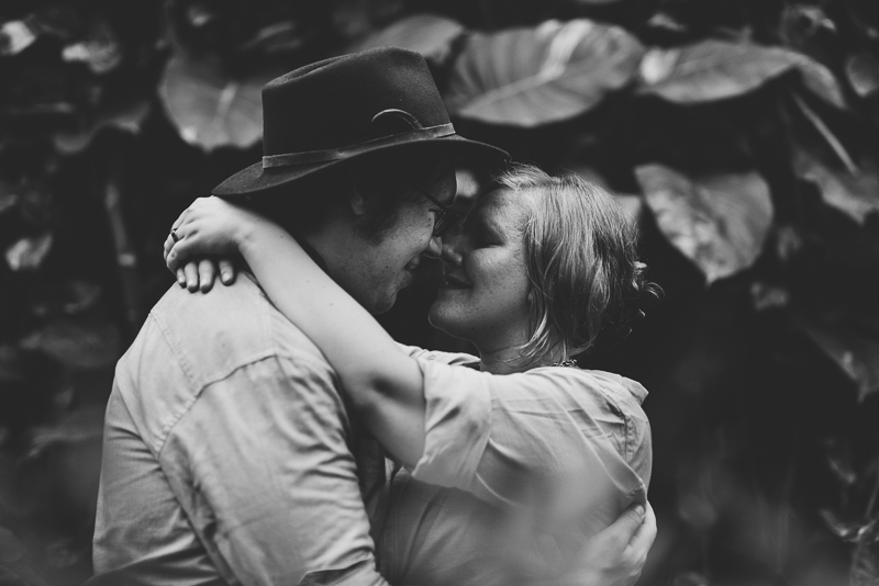 Denver Engagement Photography black and white kiss