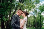chatfield botanic gardens wedding photography smiling couple blue sky trees