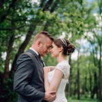 chatfield botanic gardens wedding photography smiling couple blue sky trees