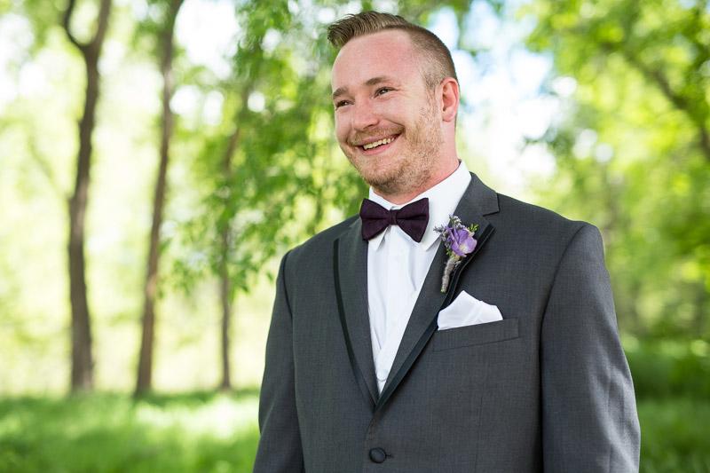 chatfield botanic gardens wedding photography smiling groom