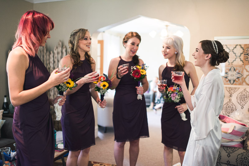 chatfield botanic gardens wedding photography bridesmaid toast