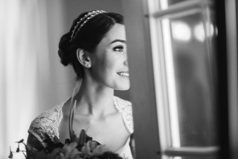 chatfield botanic gardens wedding photography bride black and white smile