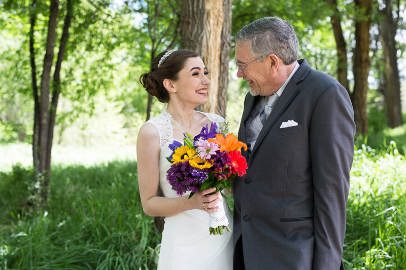 chatfield botanic gardens wedding photography bride and dad