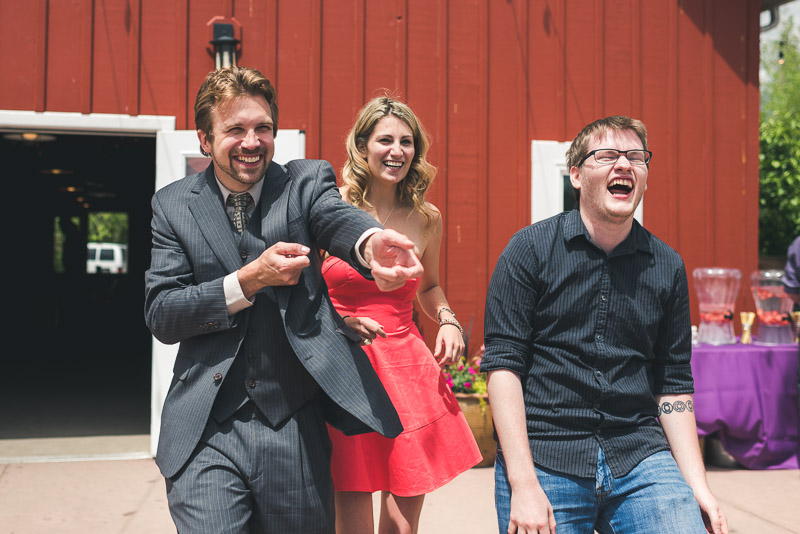 chatfield botanic gardens wedding photography guests laughing