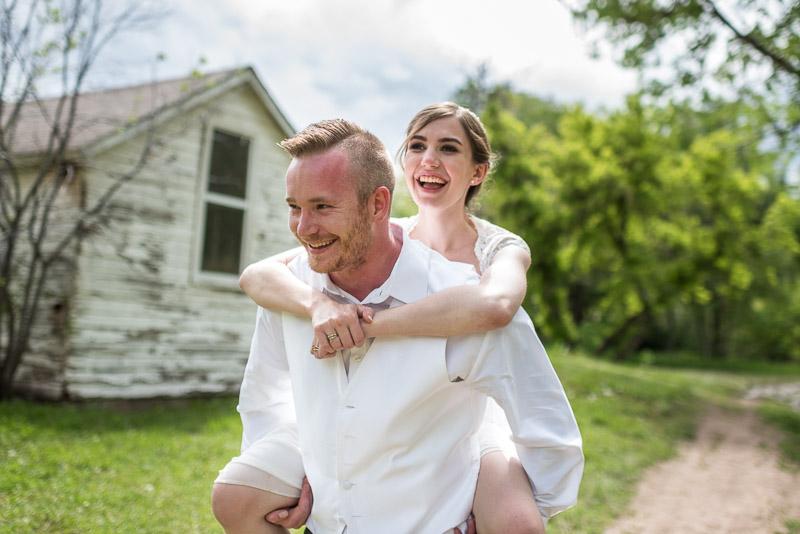 chatfield botanic gardens wedding photography bride piggyback groom