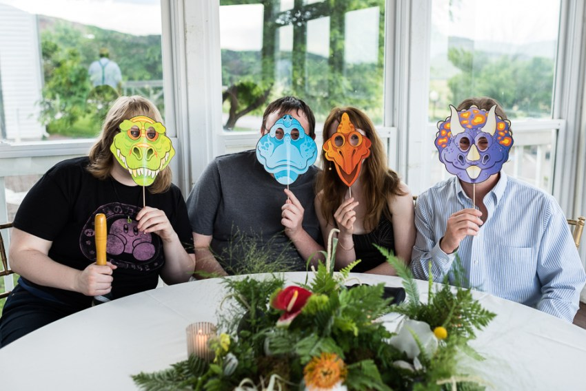 morrison willow ridge manor wedding photographer dinosaur masks