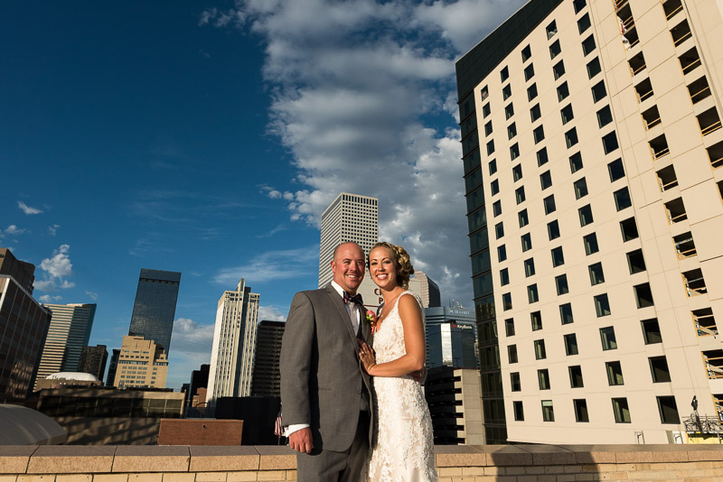Denver athletic club wedding rooftop portrait