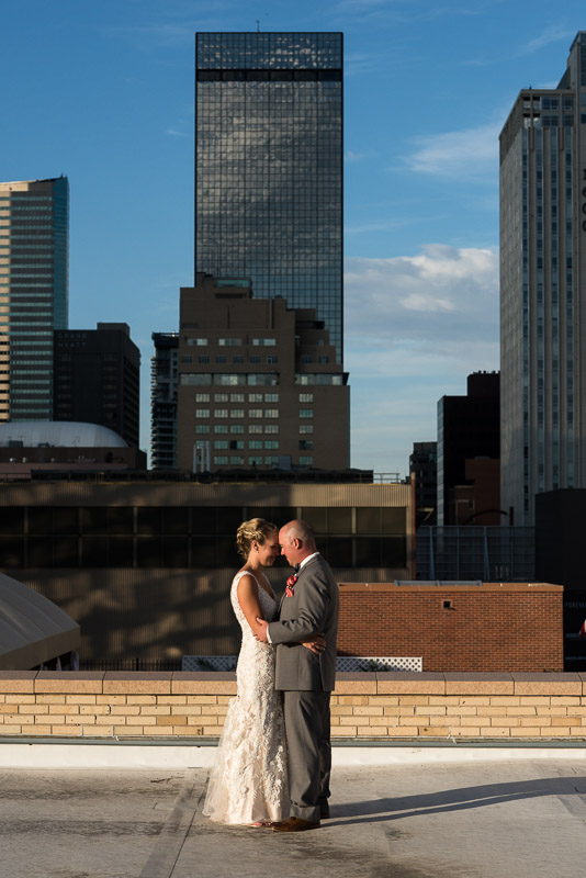 Denver athletic club wedding rooftop couple