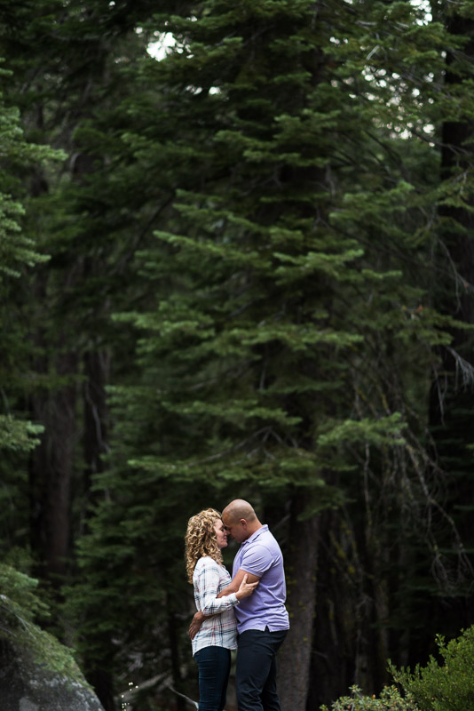 Tahoe Engagement Photography forest kissing