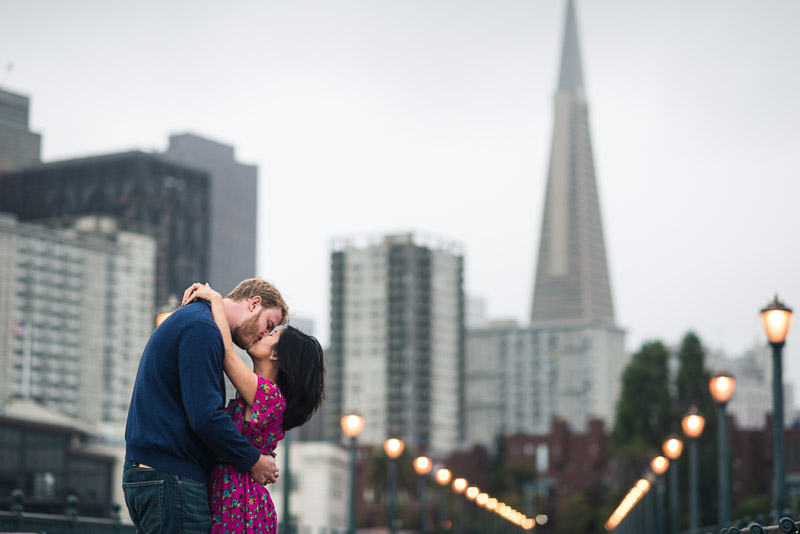 San Francisco engagement photography pier 7 transamerica building
