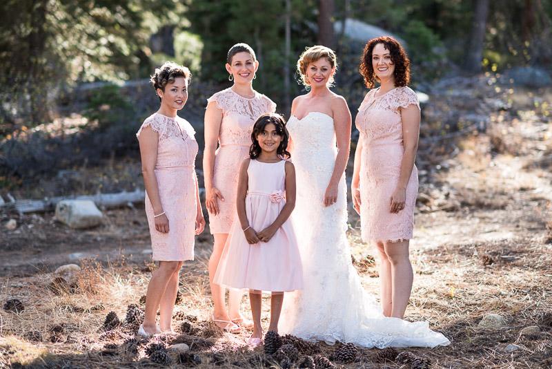 Lake Tahoe Wedding Photographer bridesmaids pink dresses