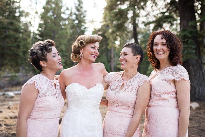Lake Tahoe Wedding Photographer laughing bridesmaids pink lace dresses