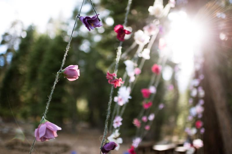Lake Tahoe Wedding Photographer hanging flowers