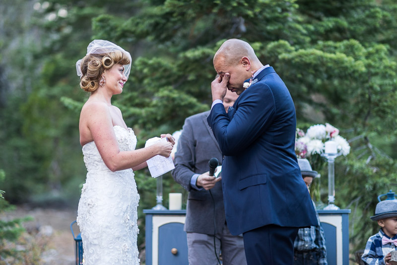 Lake Tahoe Wedding Photographer groom wiping away tears