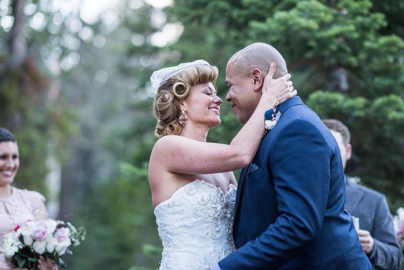 Lake Tahoe Wedding Photographer first kiss