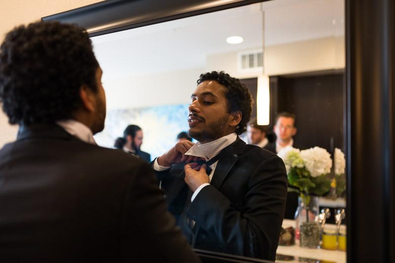 San Jose wedding photography groom getting ready