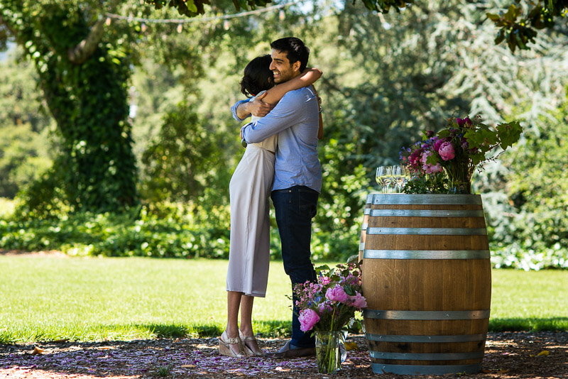 Sonoma Vineyard Proposal Photography Chateau St Jean yes hug