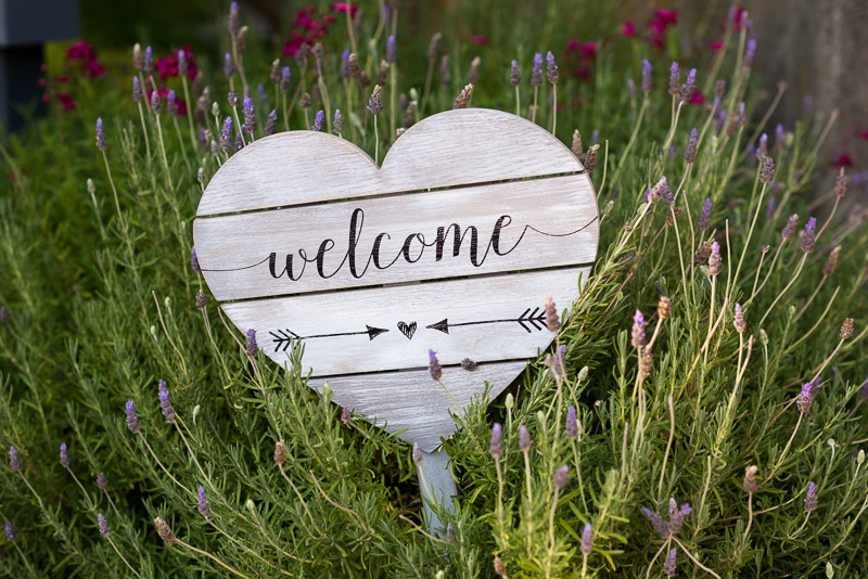 wedding welcome heart in lavender