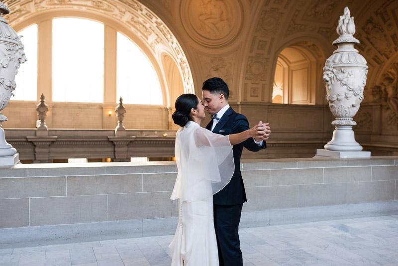 San Francisco City Hall wedding happy couple