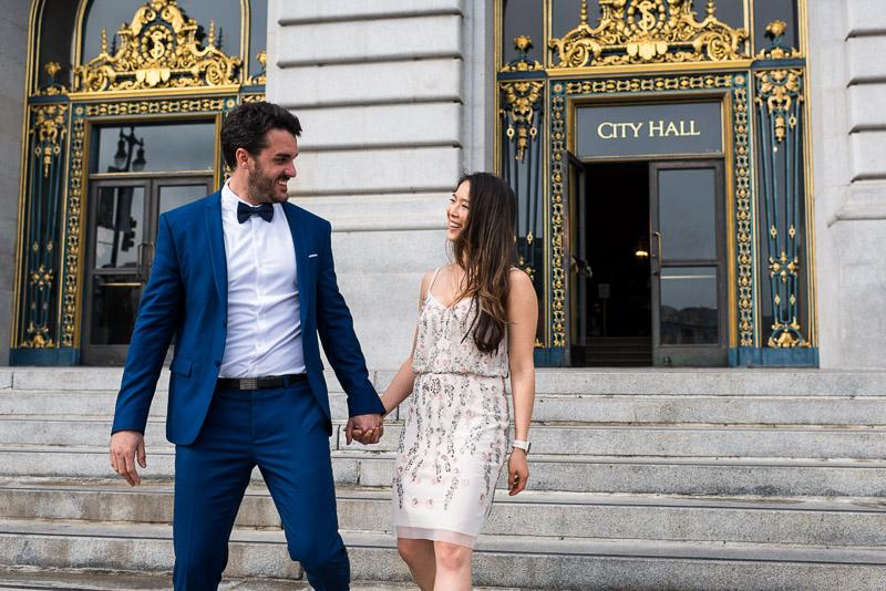 San Francisco City Hall Wedding Photography front steps