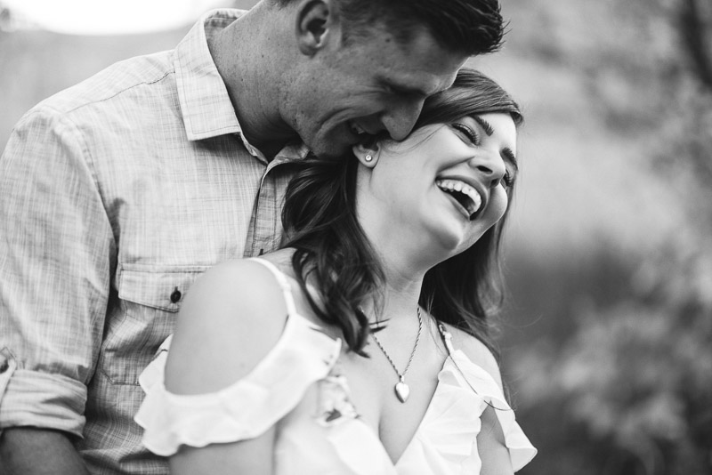 Denver Engagement Photography Morrison black and white laughing