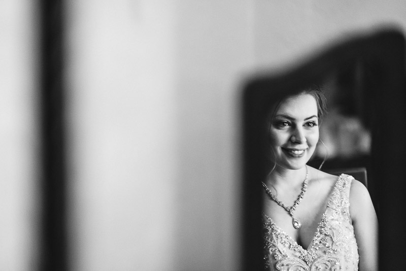 Denver Wedding Photography Wellshire Inn bride smiling in mirror