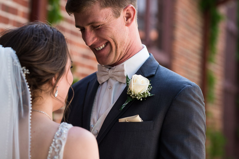 Denver Wedding Photography Wellshire Inn first look happy groom