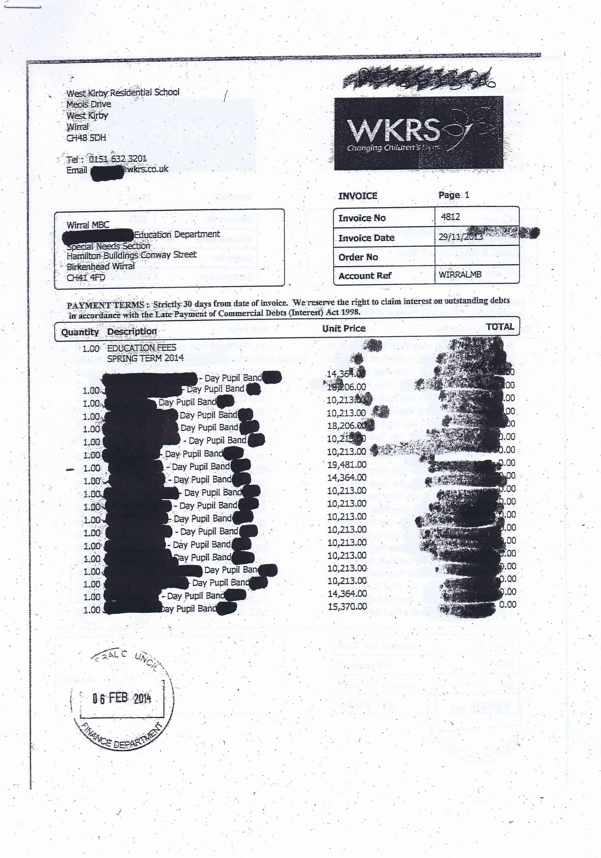 The £1,092,160.12 PFI invoice connected to Lyndale School