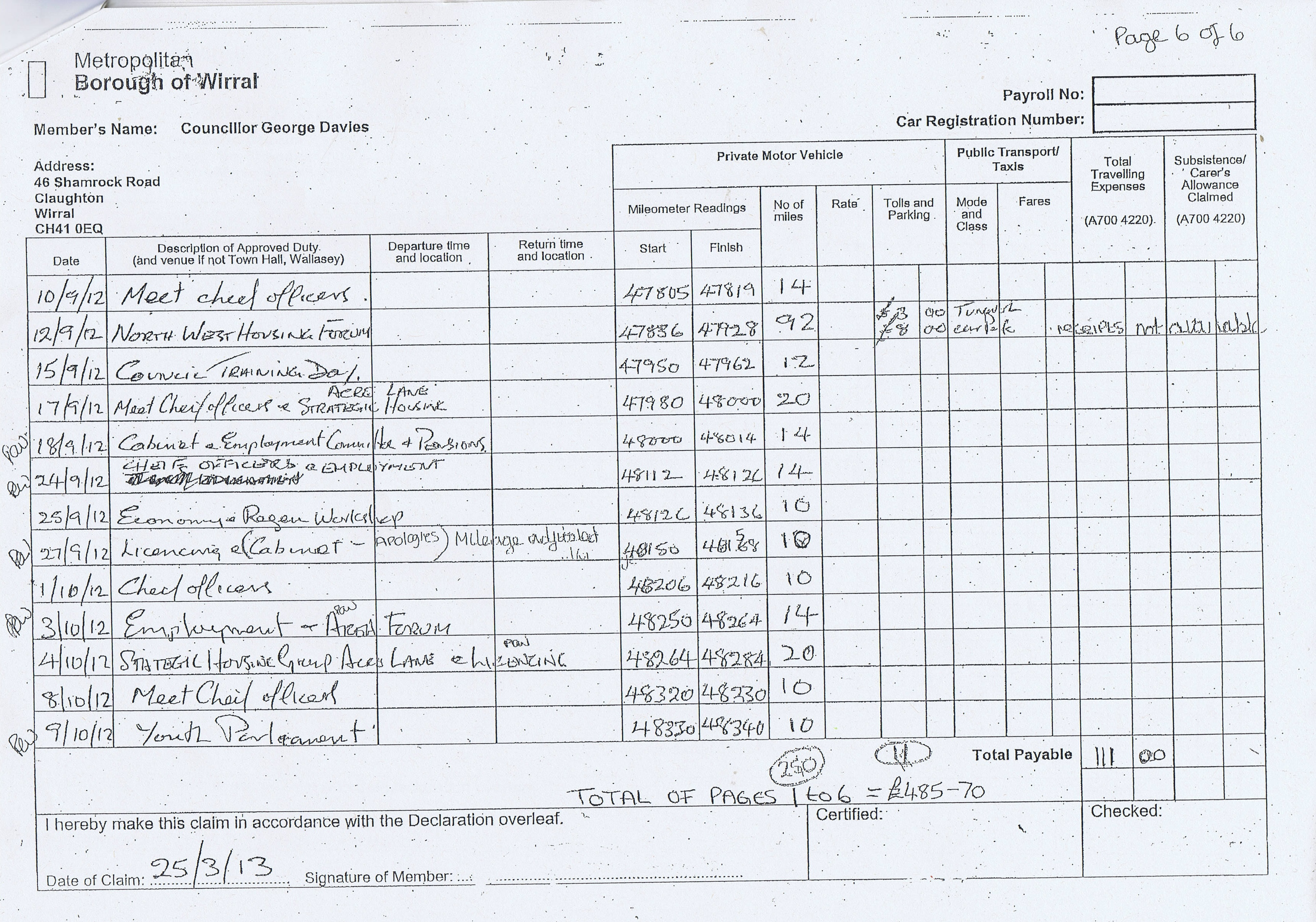 Expense claim forms for Councillor George Davies (Wirral