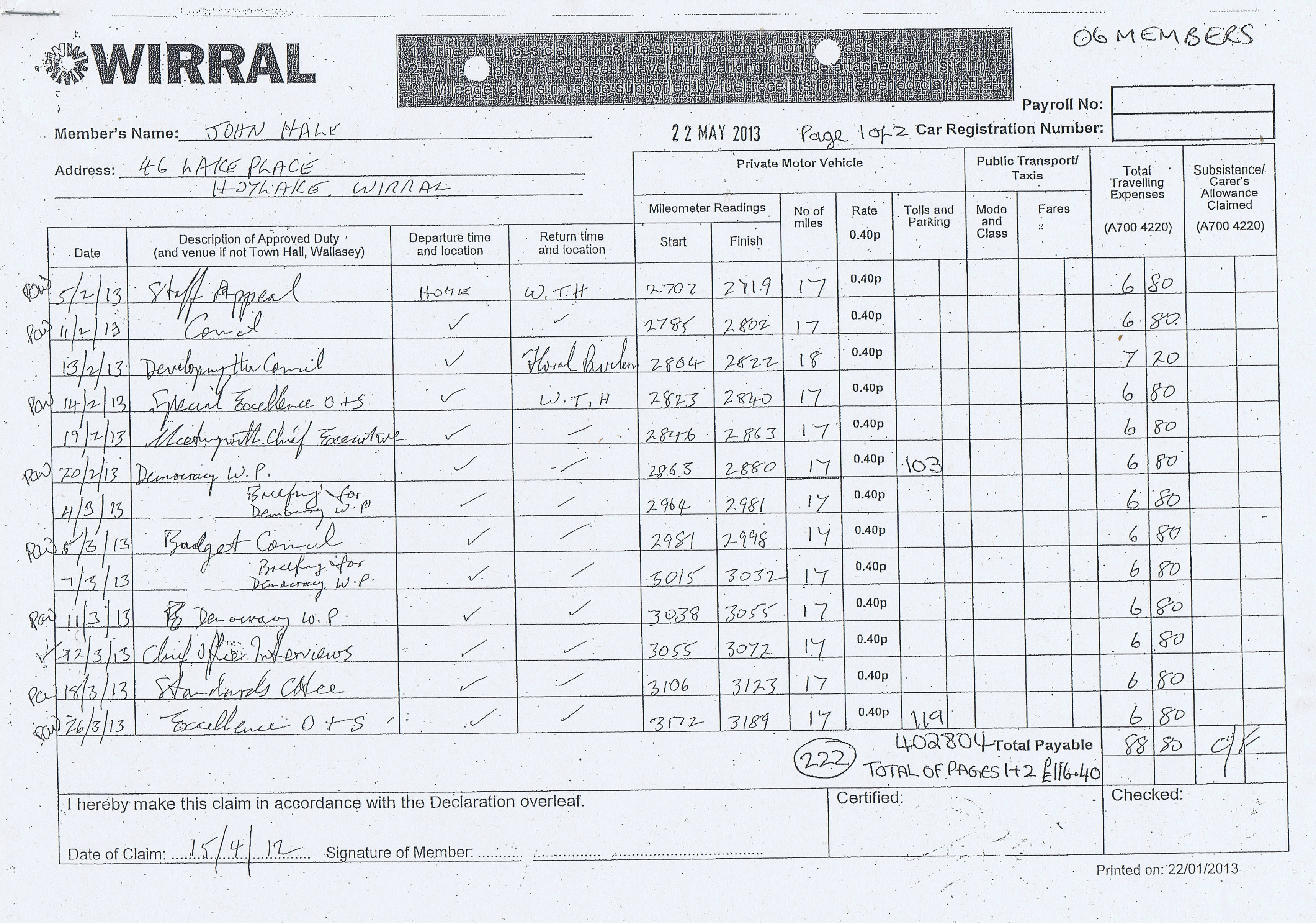 Expense claim forms for Councillor John Hale (Wirral