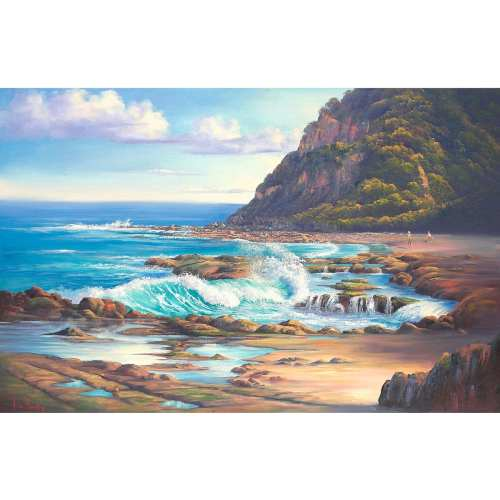 The Big Wave Dudley Beach Painting by John Bradley