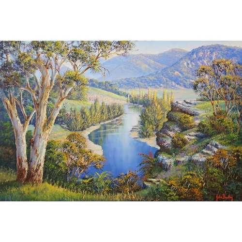 River and mountains painting John Bradley