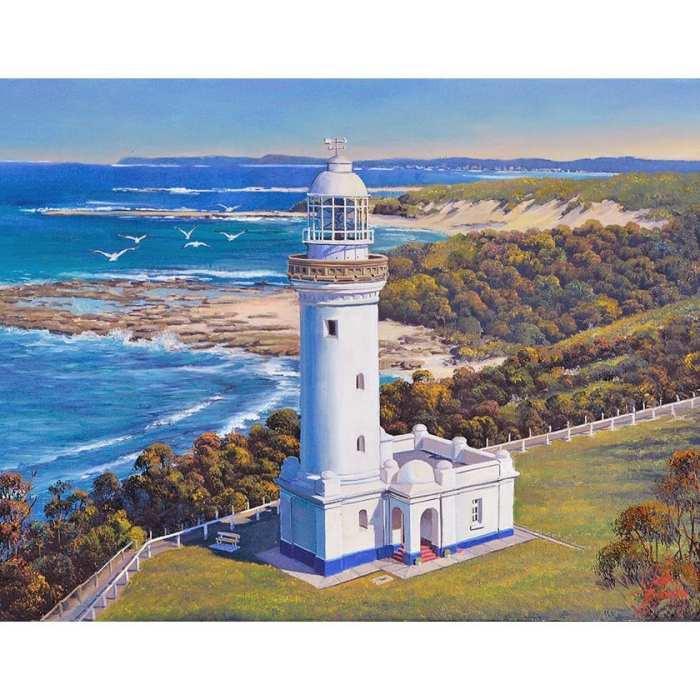 White Lighthouse with Seagulls John Bradley Art